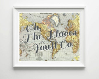 INSTANT DOWNLOAD Oh The Places You'll Go - Home decor, World Map Illustration Dr.Seuss