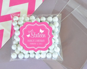 Personalized Sweet Sixteen (or 15) Clear Candy Bags (Set of 24)