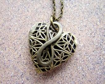 Infinite Love Essential Oil Diffuser Necklace,  Heart Shaped Oil Diffuser Pendant in Bronze