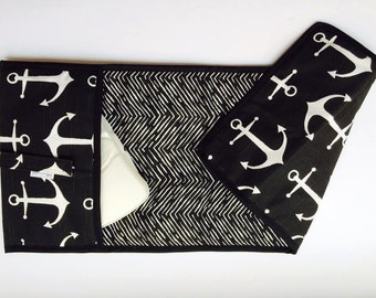Diaper clutch - Changing pad - Black Anchor - Black Chevron All-in-One 100% cotton