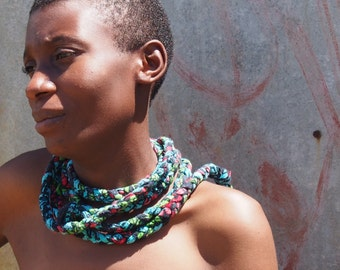Rope Woven African Printed Necklace/Headdress/Belt