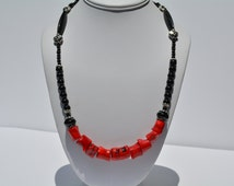 Red Coral, Obsidian Necklace, Black and Red, Jewelry, Statement Necklace, Everyday Jewelry, Gifts for Her