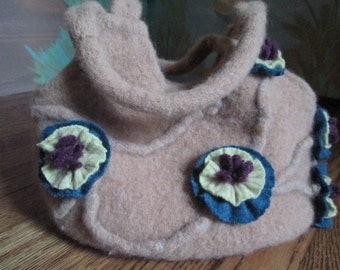"Beige ""Blossom"" Wool Felted Purse Bag"
