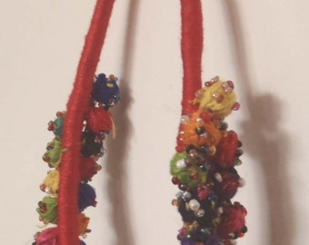Thread Work pom pom necklace in Red from Jaipur