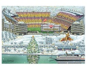 Heinz Field, Pittsburgh Landscape, Holiday Greeting Card by Kathy Rooney