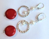 Coral, Pearl and Sterling Silver Earrings