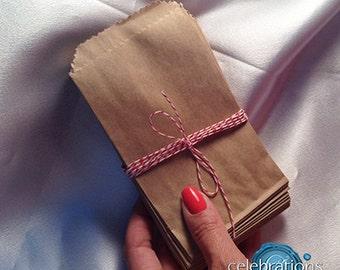 Bag, brown, small, 3.25 x 5.5  small favor bags, flat, kraft, mini paper bag, craft fairs, treats, goodie, candy buffet bags, pack 100 200