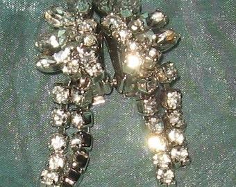 Rhinestone Earrings -Prong Set Dangle Earrings - Clip on Earrings