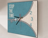 "Wall clock, Stop the time wall clock, funny wall clock, square wall clock 12x12"", quality print. Art digital print & light weight black PVC."