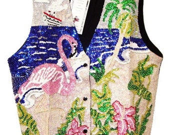 Sequin Vest Fantasy Flamingo