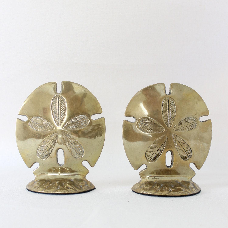 Vintage brass sand dollar bookends - Antique brass bookends ...