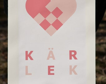 Kärlek (Cream) limited edition of 5 hand pulled 3 color screenprint (Signed and Numbered)