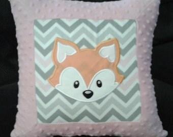 16 X 16 Inch Nursery Pillow Cover W Orange Baby Fox Pink