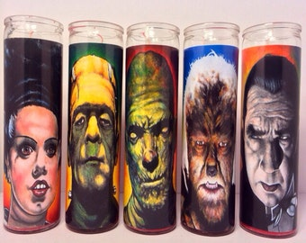 Bride of Frankenstein by Chuck Hodi  Prayer Candle