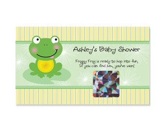 Froggy Frog - Baby Shower Scratch Off Game - 22 Personalized Game Cards