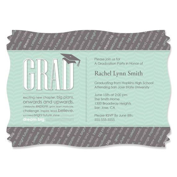 Con-GRAD-ulations - Mint - Graduation Party Invitations - Graduation ...