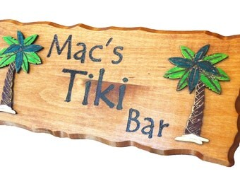 """Wood sign personalized rustic rectangle bass wood 14""""x 6"""""""