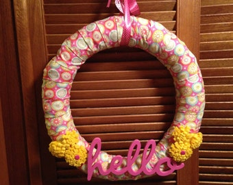 Pink and Yellow Hello Wreath