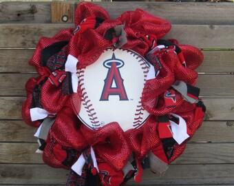 "24"" Angels wreath Angels Baseball Wreath Angels Sports Wreath Baseball Wreath Angels Baseball Deco Mesh Wreath Angels DecoMesh Door Decor"
