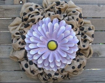 "22"" Flower Wreath- Burlap Flower Wreath- Spring Wreath- Polka Dot Burlap Flower Wreath- Purple Flower Wreath- Burlap Wreath"