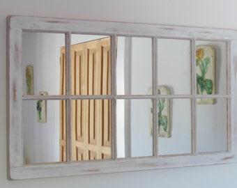 white distressed framed mirror window mirror window pane window sash mirror - Distressed Window Frame