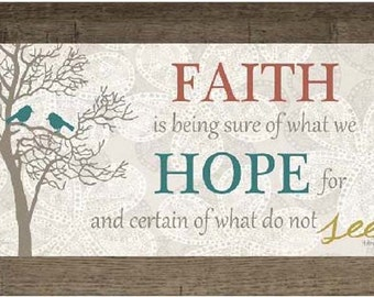 """Faith Is Being Sure Of What You Hope For Red Blue Decor Print Art Framed Picture 13x22"""""""