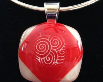 Dichroic fused glass pendant