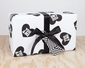 You and Me / Black and White Valentines Day Heart Wrapping Paper / Gift Wrap - HappyKit