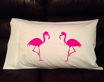 Fuchsia Flamingo Pillowcase - Hand Screen Printed