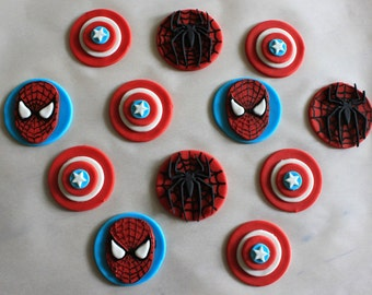 Fondant spiderman cupcake toppers - photo#21