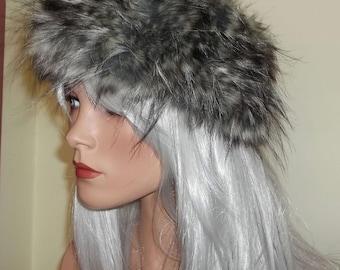 Luxury Grey Faux Fur Headband with Black & Silver Highlights