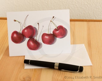 Cherry Watercolor Notecard
