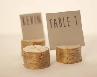 80 pieces rustic place card holders, Wedding name holders, rustic wood Wedding table card holders, deciduous tree, wooden holder with bark