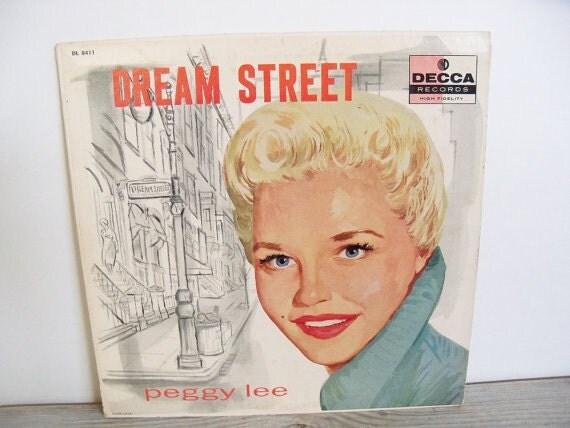 Peggy Lee Dream Street Antique Record Album Vintage Decca Record Street of Dreams1957 Rare