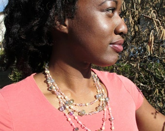 Iridescent  Glass and Pearl Multi-layered Layered Necklace - Dramatic - Handmade