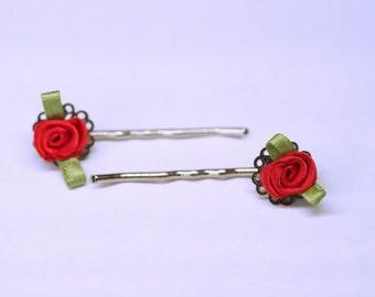 Red rose Vintage inspired hair pins