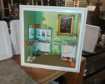 Great Quality dollhouse room Nursery shadow box green baby's room high chair toys bear crib balls plane model cars balloons gifts 1/12 scale