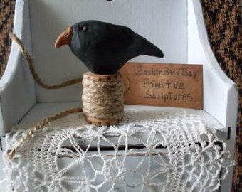 PrimiTive Folkart Olde Crow Sculpture  BostonBackBay  Collectibles  We Ship Internationally