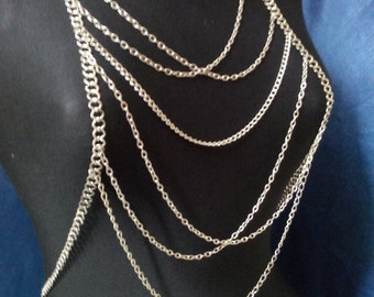 Silver Body Chain,Necklace,body necklace,