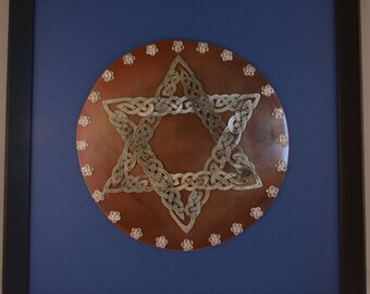 Celtic Knotwork Jewish Star of David Metal Wall Hanging