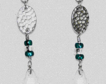 Silver and Crystal Dangle Drop Earrings - 1310021