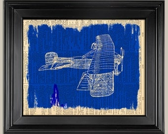 "Vintage Plane Blueprint Style print. Print on book page art print. Printed dictionary page.   Fits 8""x10"" frame."
