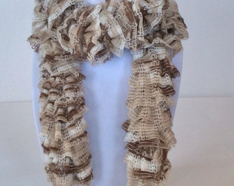 Soft Ruffle Scarf in Beige