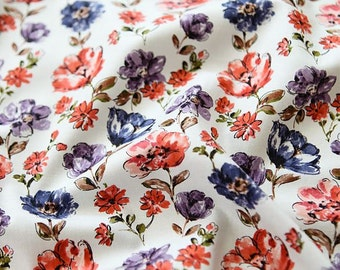 Watercolor Floral Pattern Cotton Fabric Scarlet by Yard AQ70
