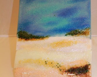Fused Glass Wall or Table Art - Sand Dunes