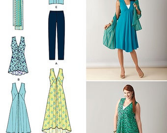 Simplicity Sewing Pattern 1376 Misses'/Women' Jacket, Dress in Two Lengths or Tunic, Scarf and Knit Leggings