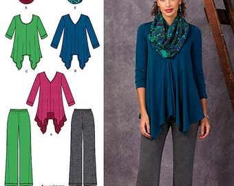 Simplicity Sewing Pattern 1323 Misses' Knit Tunic and Pants and Infinity Scarf