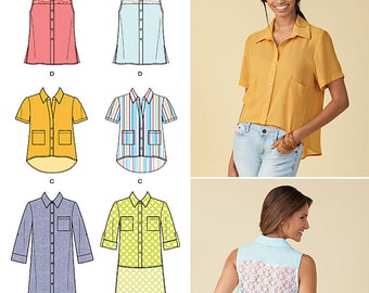 Simplicity Sewing Pattern 1422 Misses' Button Up Mini-Dress or Shirt with Variations