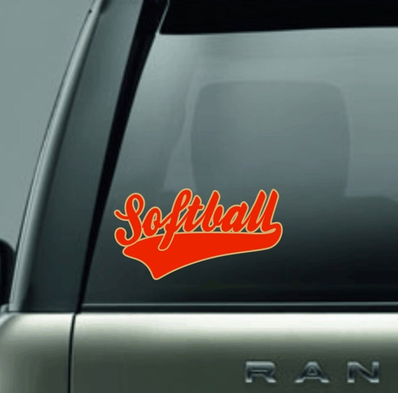 custom two color softball car decal sticker in glitter or solid vinyl from mycreativeoutlettime. Black Bedroom Furniture Sets. Home Design Ideas