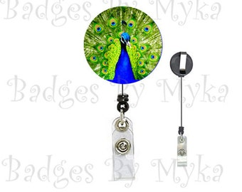Retractable ID Badge Holder - Peacock
